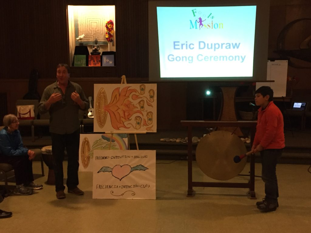Eric DuPraw leads a healing gong ceremony with Diego Jiminez-Mota at the Music Jam.