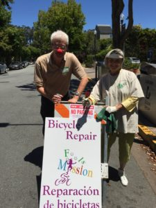 Thomas Atwood adn San Mateo County Sustainability Coordinator Ellen Barton at a Repair Cafe in Burlingame, California