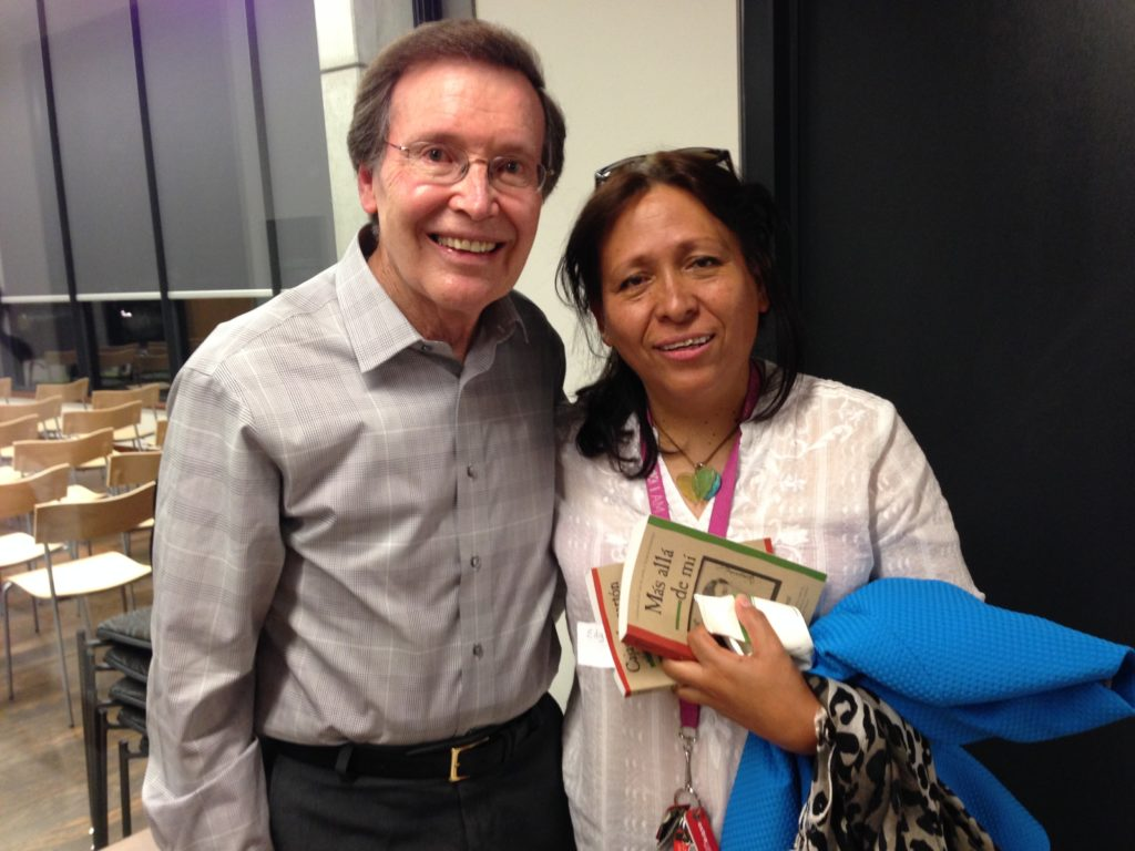 Fools Silvia Ramirez (right) meets author Francisco Jimenez at a book tour event in Palo Alto.