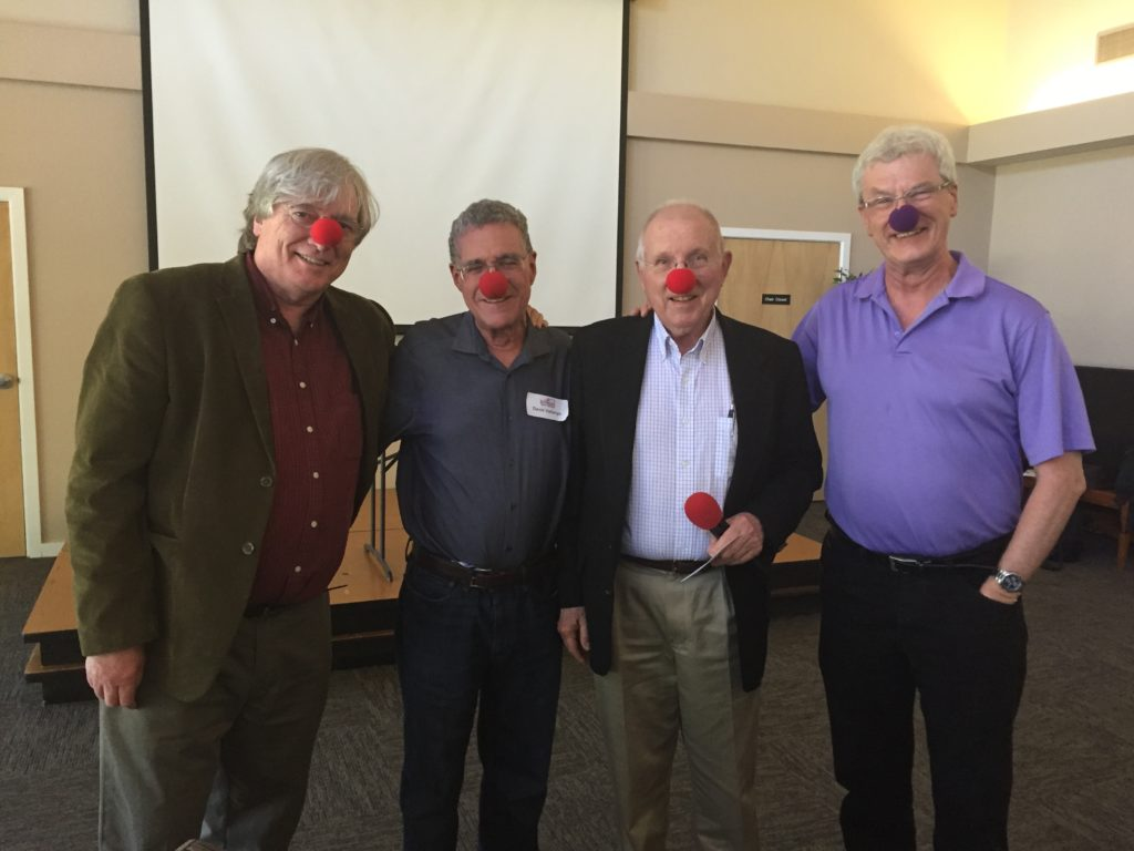 Fools David Vallerga and Thomas Atwood put on the nose with Arthur Dewey and Brandon Scott, scholars of the Jesus Seminar, at a seminar in Cupertino, California on