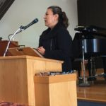 Photo of Macrina Mota addresses the Unitarian Universalist Fellowship of Sunnyvale on August 7, 2016.